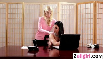 Big tits blonde secretary seduces her boss